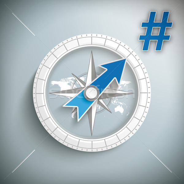 Compass Hashtag Stock photo © limbi007