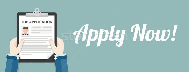 Hand Clipboard Job Application Apply Now Header Stock photo © limbi007