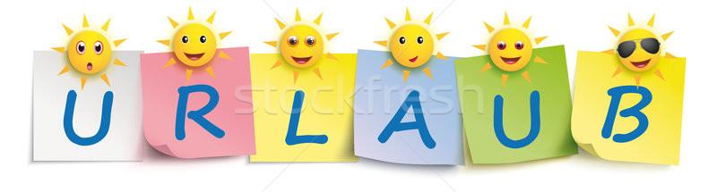 Urlaub Colored Sticks Pins Header Sun Smileys Stock photo © limbi007