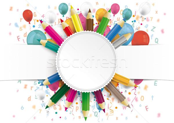 Witte papier banner embleem ballonnen brieven Stockfoto © limbi007