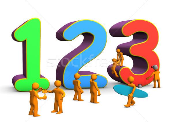 123 matematika színes számok narancs rajz Stock fotó © limbi007