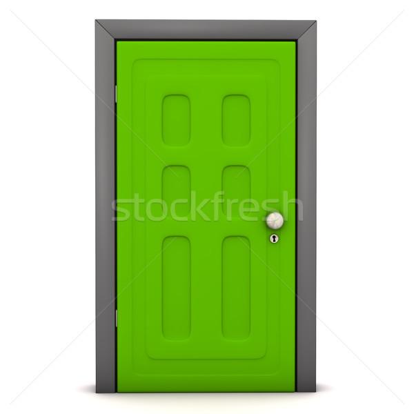 Przednie drzwi zielone biały sukces wolności wolna Zdjęcia stock © limbi007