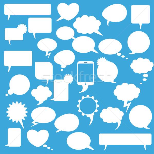 Speech Bubbles Set Blue Background Stock photo © limbi007