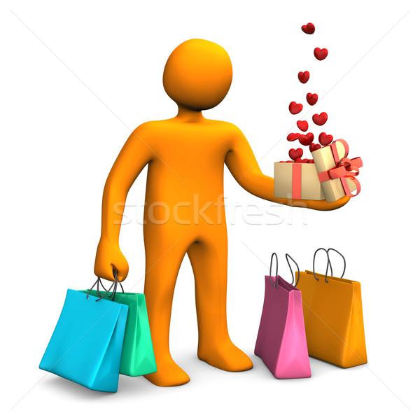 Manikin Shopping Bags Gift Hearts Stock photo © limbi007