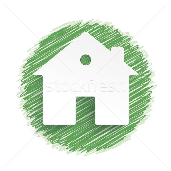 Eco House Green Scribble Stock photo © limbi007