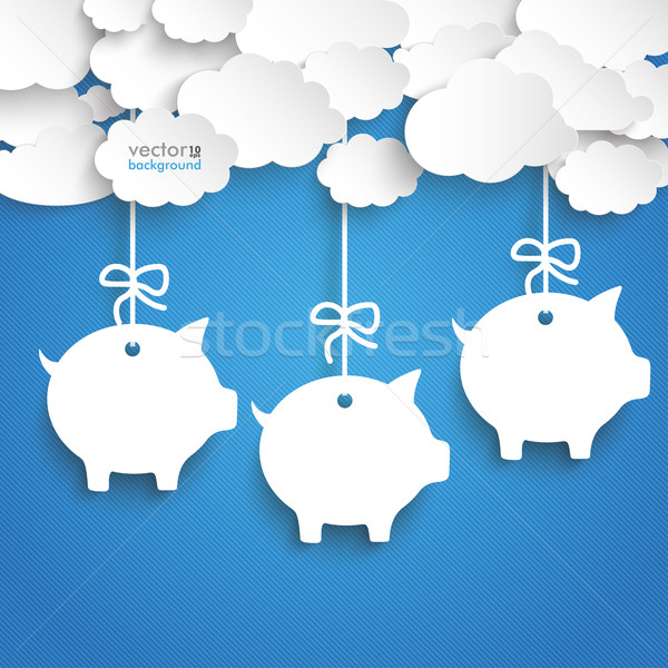Paper Clouds Striped Blue Sky Piggy Banks Stock photo © limbi007