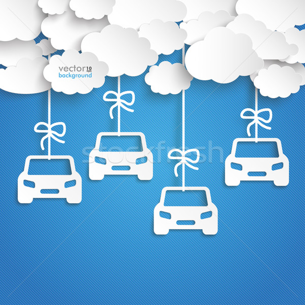 Paper Clouds Striped Blue Sky Cars Stock photo © limbi007