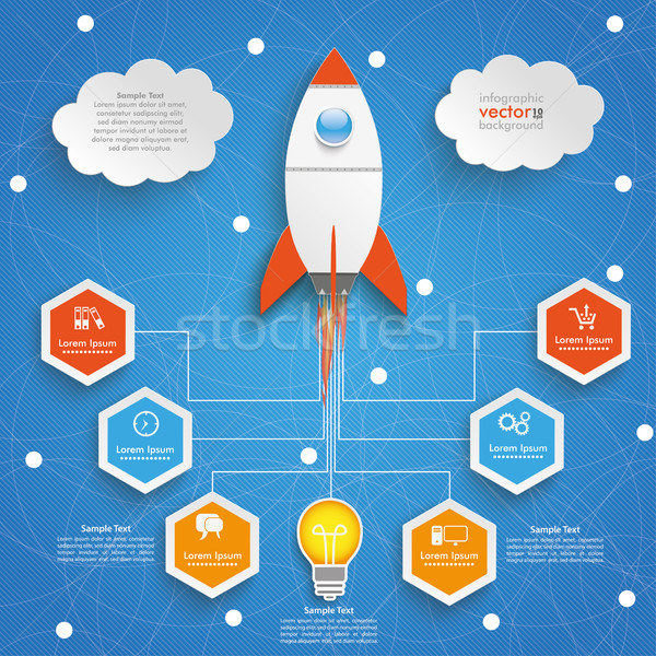 Bulb Startup Infographic Network Blue Sky Stock photo © limbi007