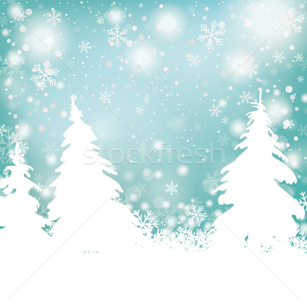 Christmas Snow Winter Background Fir Trees Stock photo © limbi007