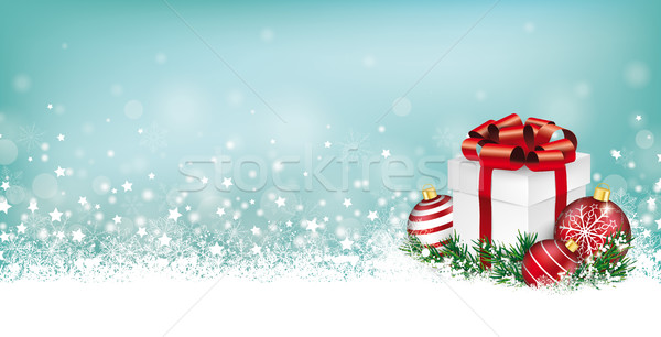 Cyan Christmas Card Header Snowflakes Gift Baubles Stock photo © limbi007