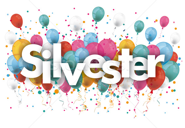 Confetti Balloons Silvester Stock photo © limbi007