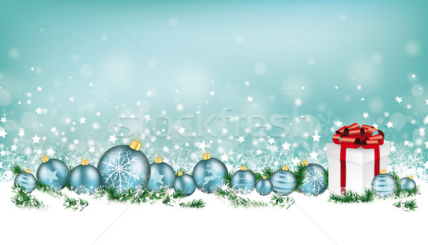Cyan Christmas Card Header Snowflakes Baubles Gift Stock photo © limbi007