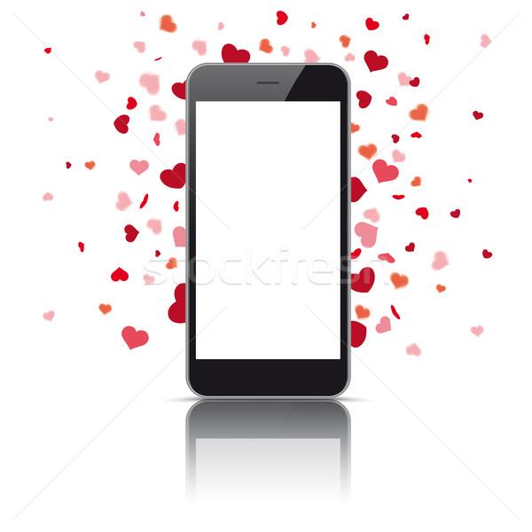 Fekete okostelefon szívek fehér eps 10 Stock fotó © limbi007
