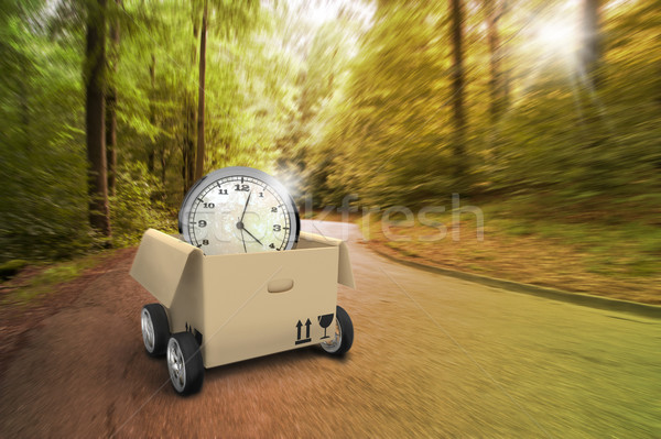 Driving Moving Box With Watch In The Forest Stock photo © limbi007