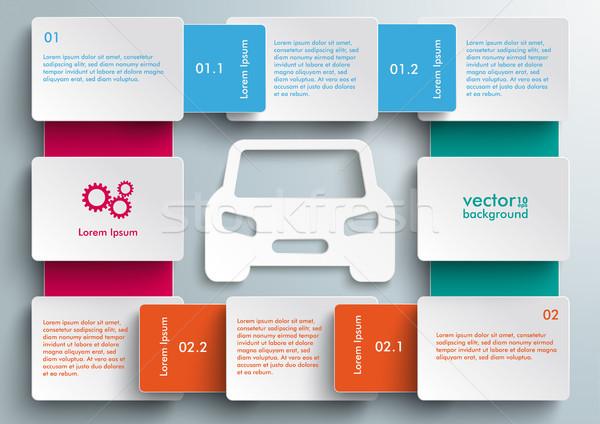 Autó bicikli infografika papír szürke eps Stock fotó © limbi007