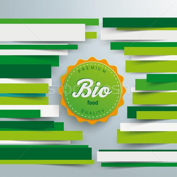 Brochure bio voedsel label papier lijnen Stockfoto © limbi007