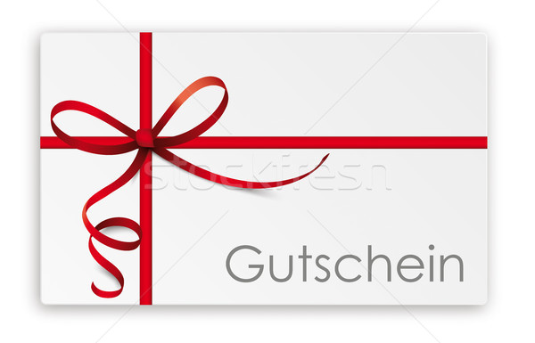 Gutschein Thin Red Ribbon Stock photo © limbi007