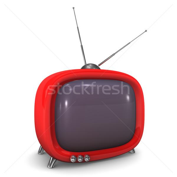 Roşu dulce televizor antenă alb televiziune Imagine de stoc © limbi007