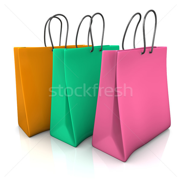 Tres colorido bolsa de la compra blanco papel Foto stock © limbi007