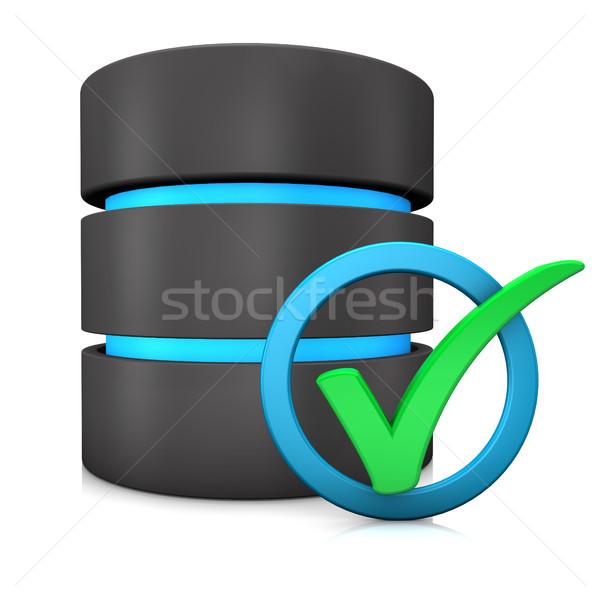 Banco de dados verificar verde azul anel branco Foto stock © limbi007