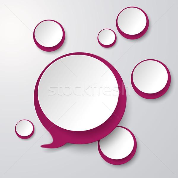 Lila weiß Sprechblase Kreise grau eps Stock foto © limbi007