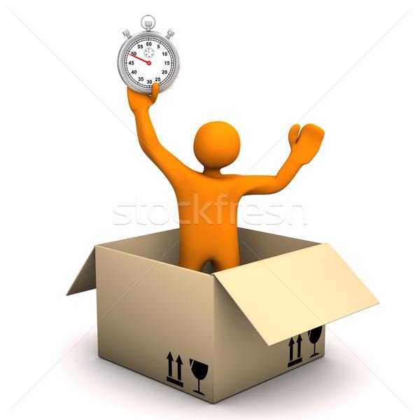 Manikin Parcel Stopwatch Stock photo © limbi007