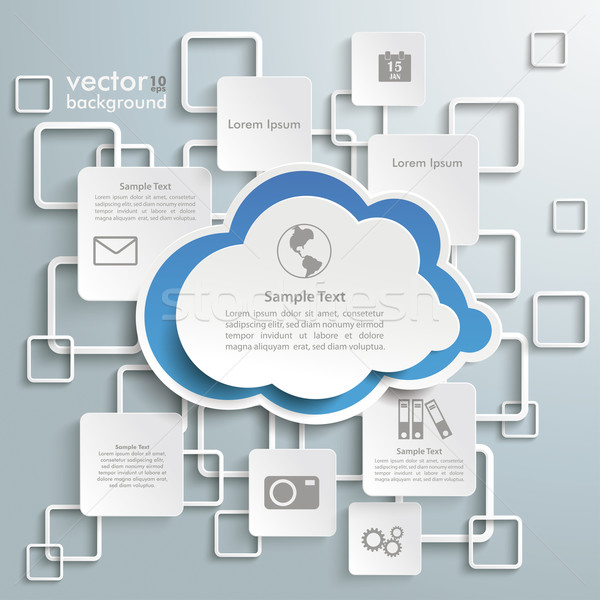 Azul nube blanco infografía gris eps Foto stock © limbi007
