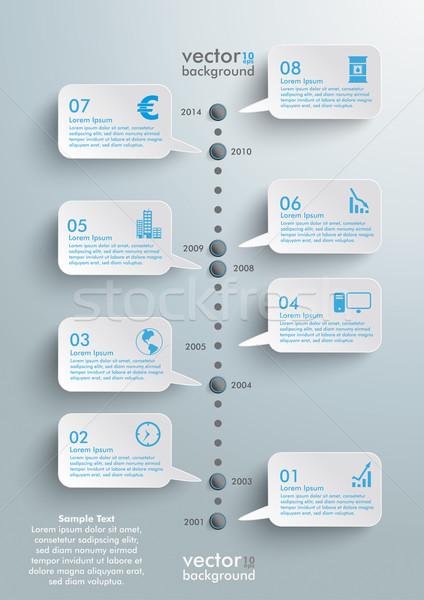 Szövegbuborékok idővonal infografika terv felhők szürke Stock fotó © limbi007