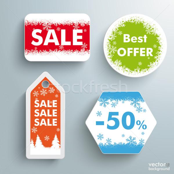 Christmas sprzedaży cena naklejki gwiazdki zakupy Zdjęcia stock © limbi007