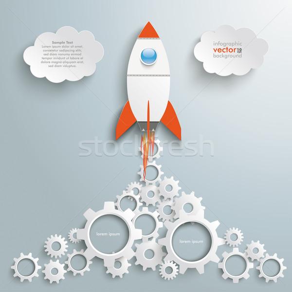 Rakéta sebességváltó gyártás infografika ezüst eps Stock fotó © limbi007
