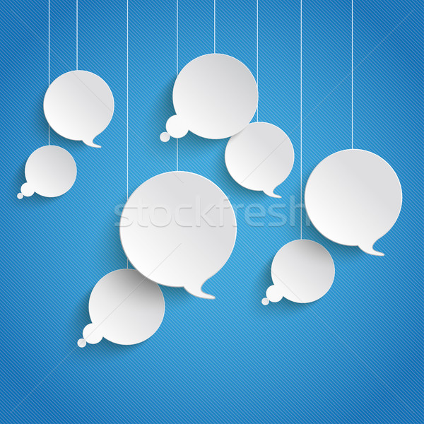 White Paper Speech and Thought Bubbles Blue Sky Stock photo © limbi007