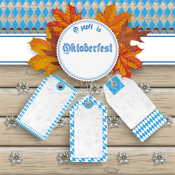 Oktoberfest Price Stickers Autumn Foliage Wood Stock photo © limbi007