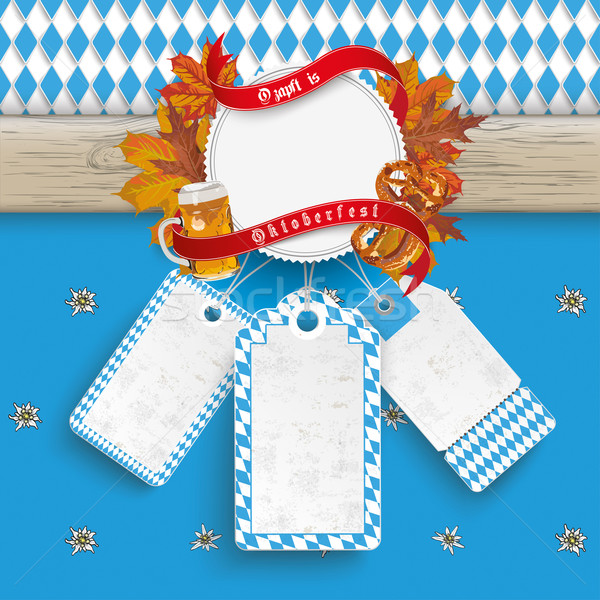 Oktoberfest Wooden Banner Foliage 3 Price Stickers Stock photo © limbi007