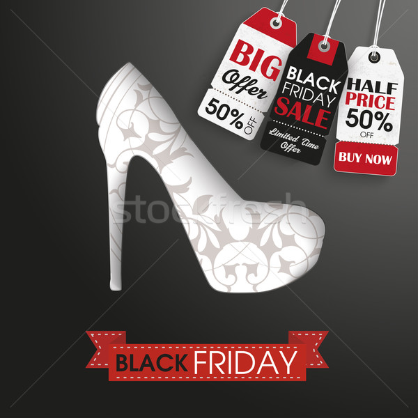 High Heels black friday Preis Aufkleber Band Text Stock foto © limbi007