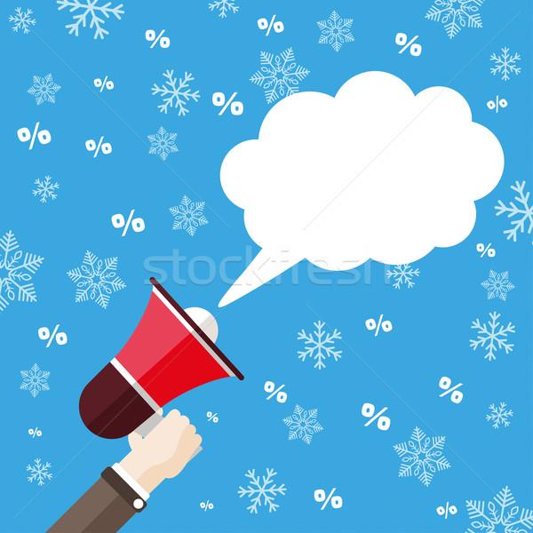 Flat Hand Bullhorn Speech Bubble Snowflakes Percents Stock photo © limbi007