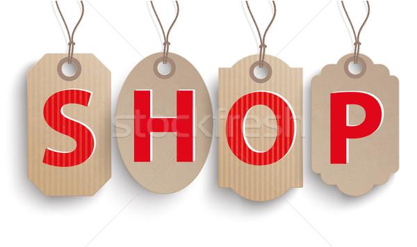 Stock foto: Karton · hängen · Preis · Aufkleber · Laden