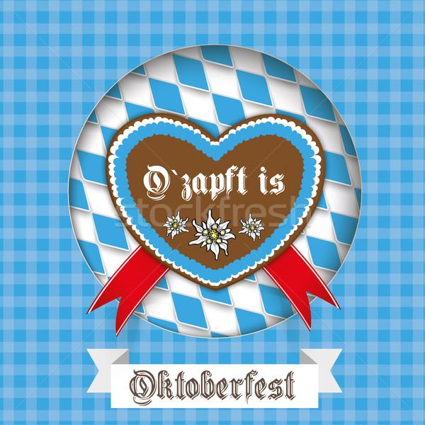 Oktoberfest Heart Hole Cover Ribbon Stock photo © limbi007
