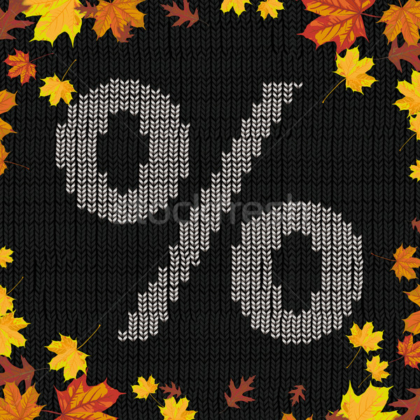 Black Knitting Fabric Percent Autumn Foliage Stock photo © limbi007