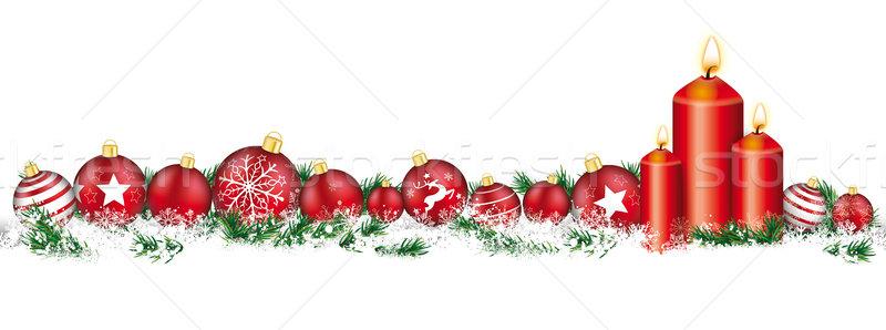 Christmas Baubles Headline Snow Banner Candles Stock photo © limbi007