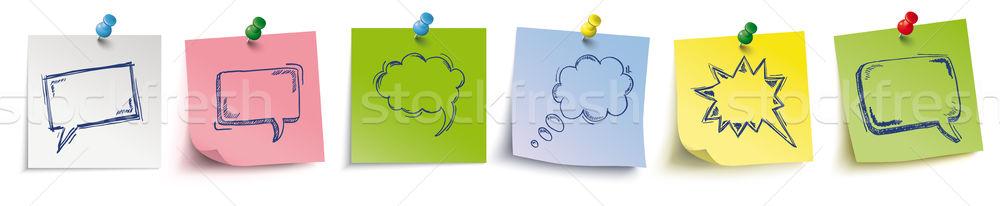 Colored Sticks With Pins Header Speech Bubbles Stock photo © limbi007
