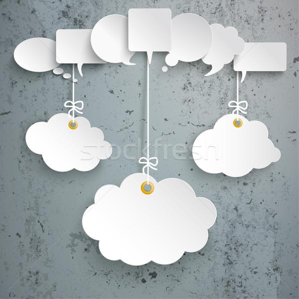 Stock photo: White Speech Bubbles 3 Hanging Clouds Concrete