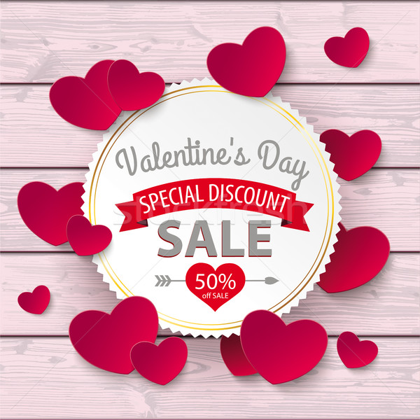 Valentines Day Sale Emblem Hearts Pink Wood Stock photo © limbi007