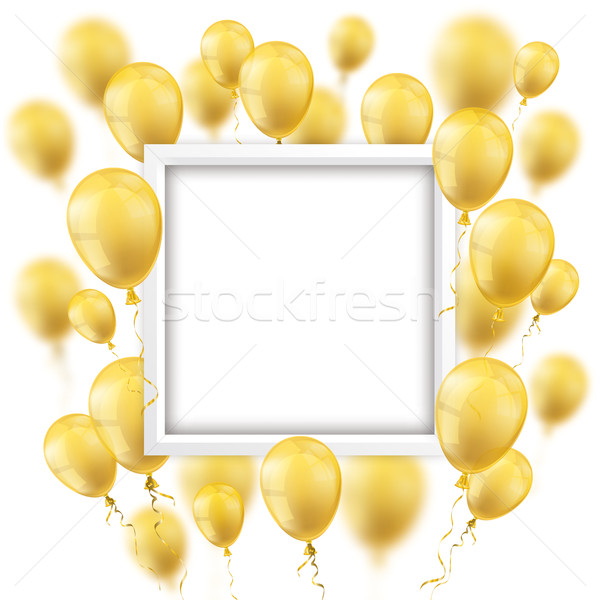 Golden Balloons White Frame Stock photo © limbi007