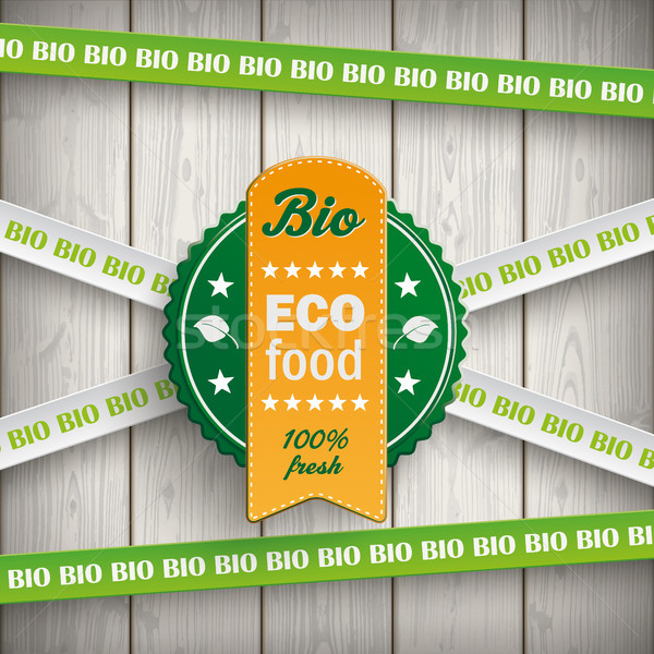 Biyo etiket hatları eco gıda ahşap Stok fotoğraf © limbi007