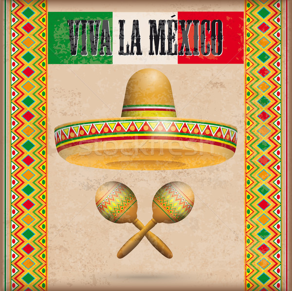 Vintage Mexican Ornaments Sombrero Maracas Viva La Mexico Stock photo © limbi007