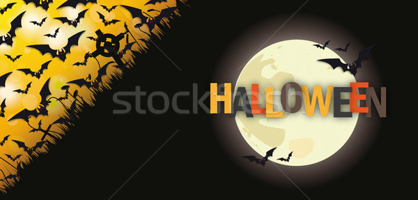 Black Bats Halloween Full Moon Header Stock photo © limbi007