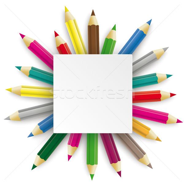 Bleistifte Rechteck Emblem weiß eps Stock foto © limbi007