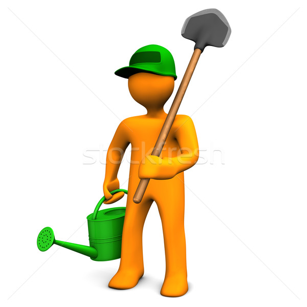 Gardener With Watering Can And Spade Stock photo © limbi007