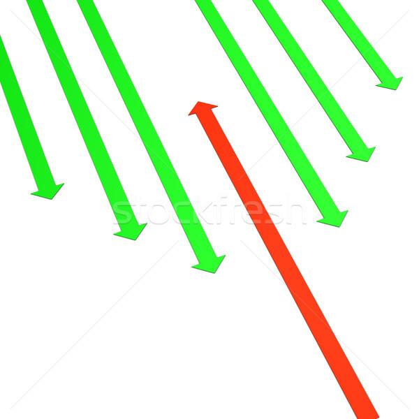 текущий зеленый Стрелки один красный стрелка Сток-фото © limbi007