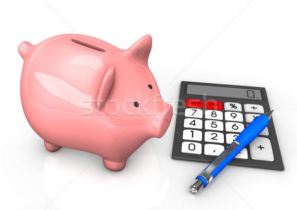 Piggy Bank Calculator Ballpen Stock photo © limbi007